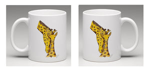 Ceramic mug with beautifully illustrated mother and baby Giraffes, by Bootsie