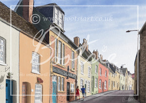 Hand drawn illustration of Gloucester Road, in the Cotswold town of Malmesbury