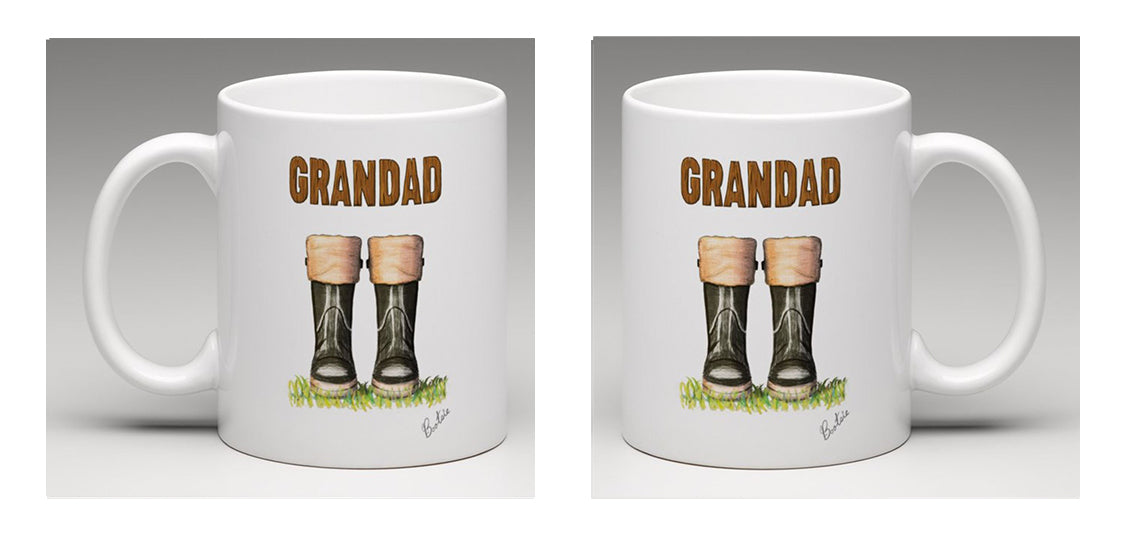 "Ceramic mug with beautifully hand drawn wellies and the word ""Grandad"" by Bootsie"