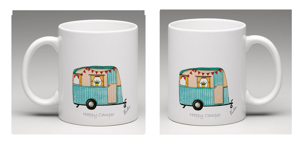 "Ceramic mug with a beatifully hand drawn illustration of a vintage caravan and the words ""happy camper"". By Bootsie."