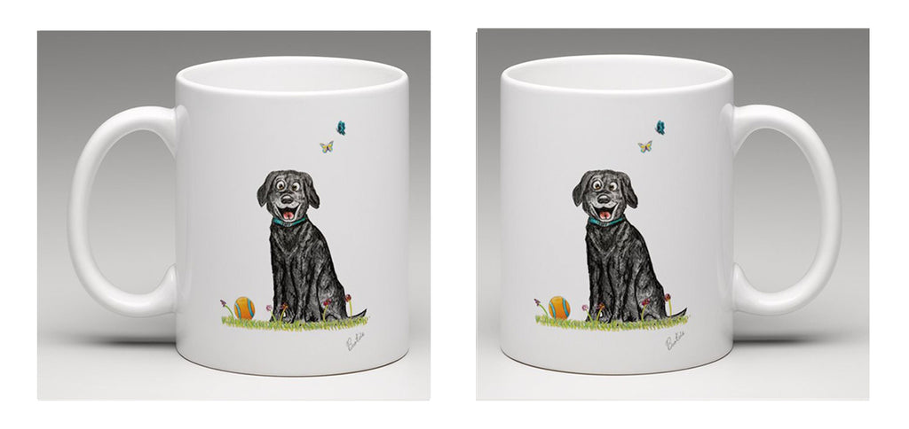 Ceramic mug with beautiful hand drawn illustration of a very happy dog, by Bootsie