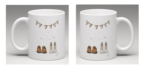 "Ceramic mug with beautifully a hand drawn illustration of wedding shoes under bunting with the words ""Mr & Mrs"" and Bees flying in the shape of a heart"