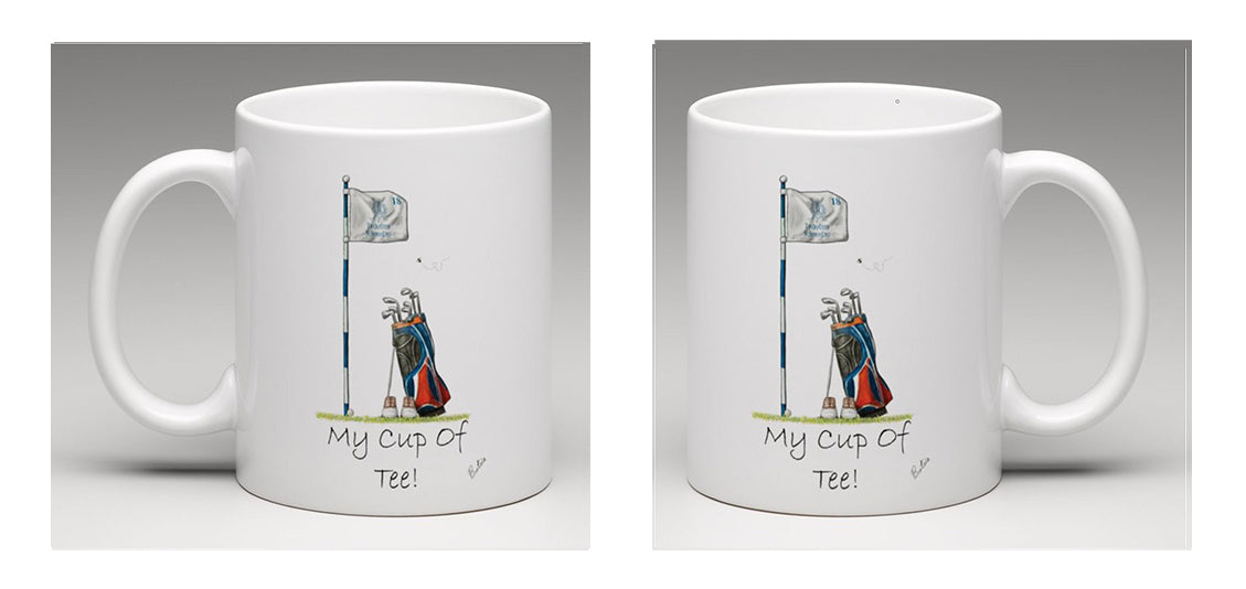 "Ceramic Mug, beautifully illustrated with golfing equipment and the words ""my cup of tee"", by Bootsie"