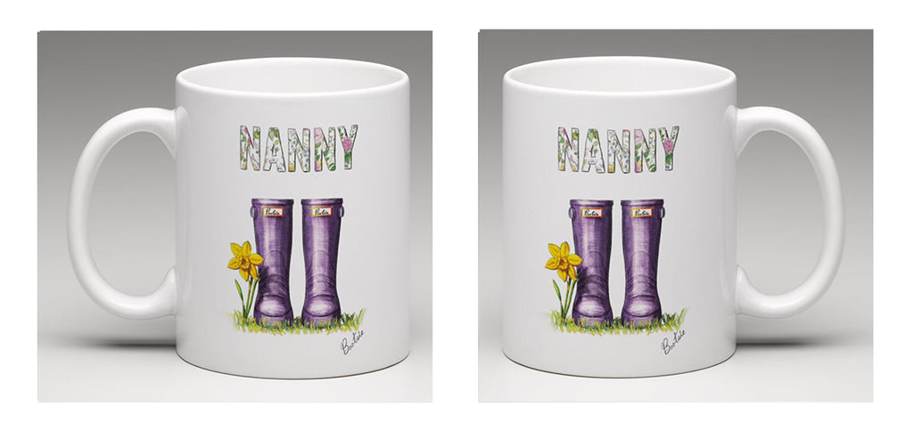 "Ceramic mug, beautifully illustrated with hand drawn wellie boots and the word ""Nanny"", by Bootsie"