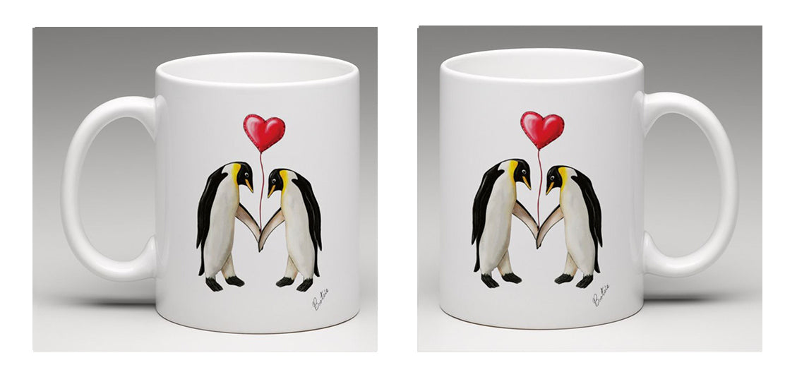 Ceramic mug, beautifully illustrated with hand drawn penguins holding a balloon, by Bootsie,