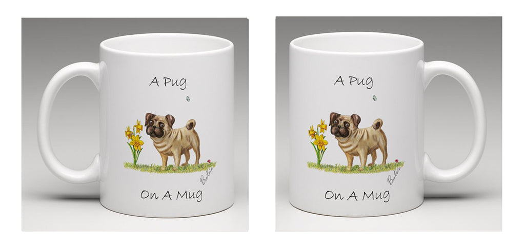 Ceramic mug with a beautifully hand drawn illustration of a Pug, by Bootsie