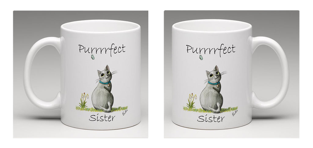 "Ceramic mug with a beautiful hand drawn illustration of a cat watching a butterfly with the words ""Purrrfect Sister"", by Bootsie."