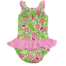 Load image into Gallery viewer, Tropical 1pc Ruffle Swimsuit w/Built-in Reusable Absorbent Swim Diaper-Lime Palm Garden