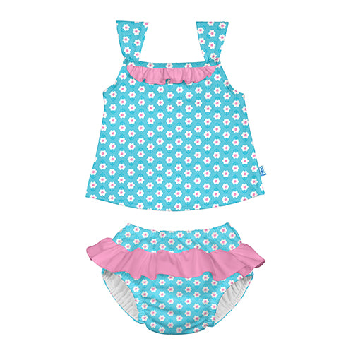 Classic 2pc Ruffle Tankini Set w/Built-in Reusable Absorbent Swim Diaper-Aqua Daisy