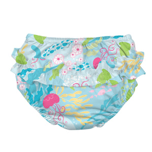 Fun Ruffle Snap Reusable Absorbent Swimsuit Diaper-Aqua Coral Reef