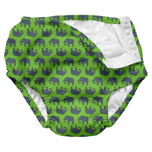 Mix and Match Ultimate Snap Swim Diaper - Lime Geo Elephant