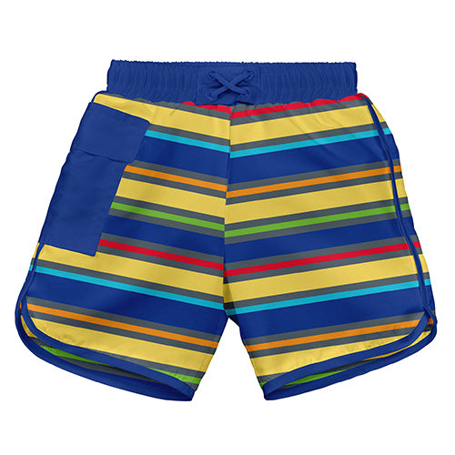 Mix and Match Ultimate Swim Diaper Pocket Trunks - Royal Multistripe