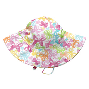 Tropical Brim Sun Protection Hat-White Butterfly
