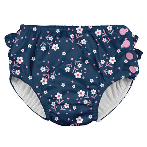 Ruffle Snap Reusable Absorbent Swimsuit Diaper-Navy Posies