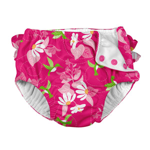 Tropical Ruffle Snap Reusable Absorbent Swimsuit Diaper-Fuchsia Hummingbird