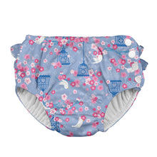 Load image into Gallery viewer, Mix & Match Ruffle Snap Reusable Absorbent Swimsuit Diaper-Light Blue Songbird
