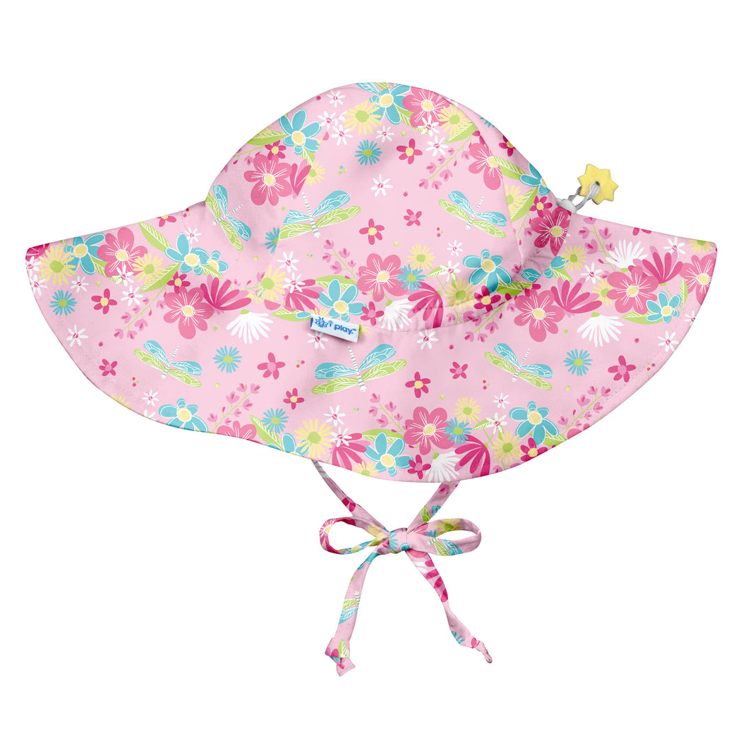 Brim Sun Protection Hat-Light Pink Dragonfly Floral