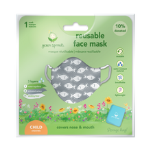 Load image into Gallery viewer, Reusable Face Mask Child-Gray Fish