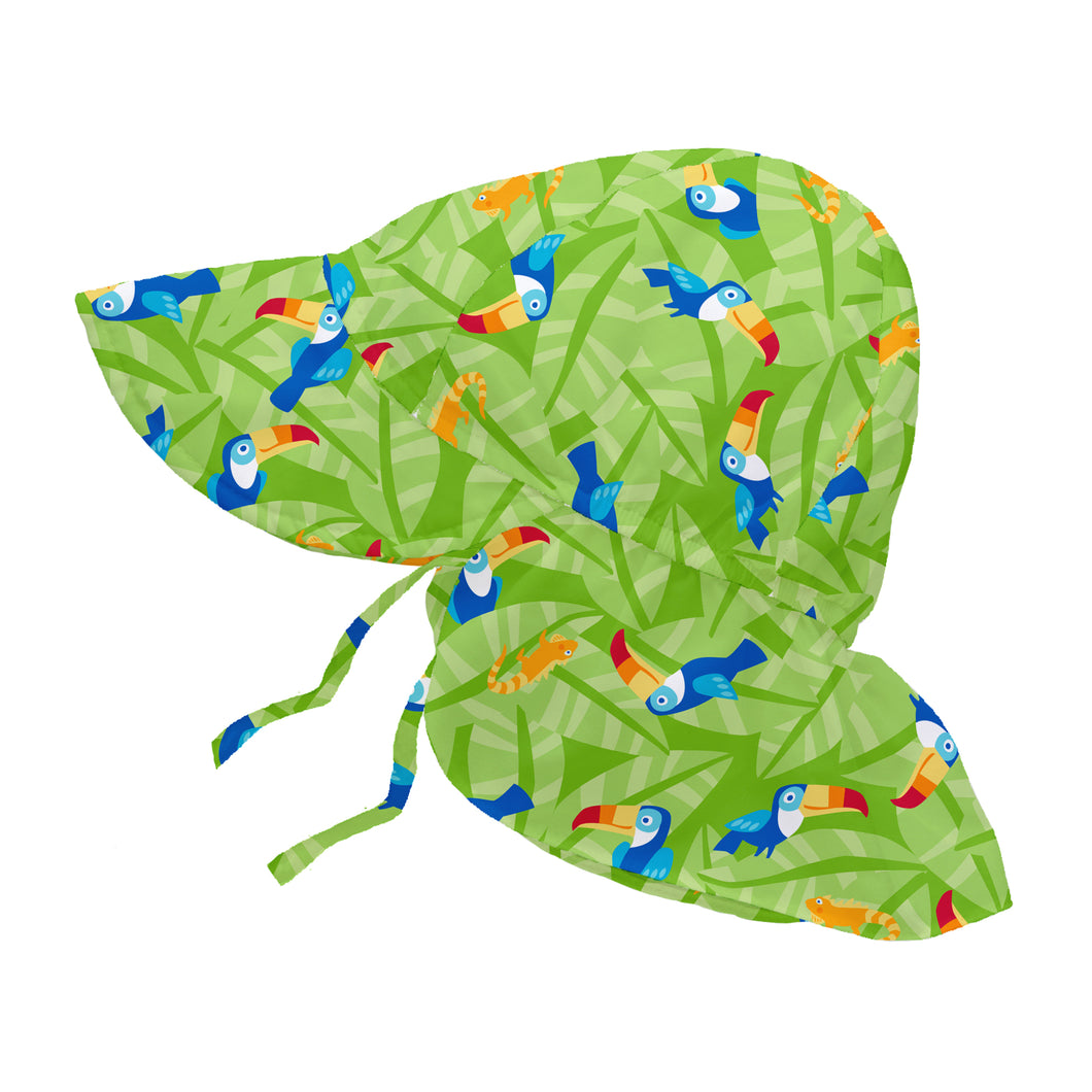 Tropical Flap Sun Protection Hat-Lime Toucan