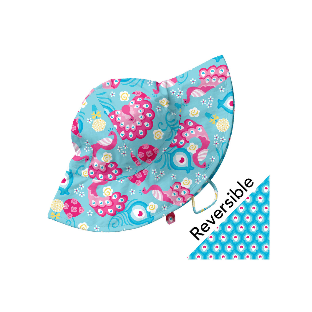 Mix and Match Reversible Brim Sun Protection Hat-Aqua Peacock