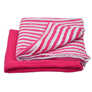 Muslin Swaddle Blanket made from Organic Cotton - Hot Pink