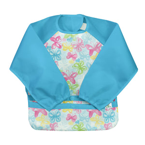 Snap & Go Easy-wear Long Sleeve Bib-Aqua Watercolor Butterflies-2T/4T