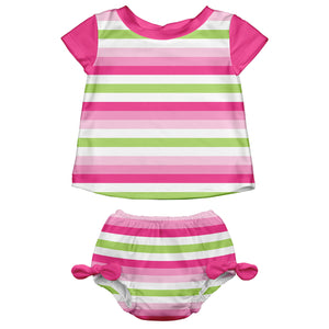 Classic Cap Sleeve Rashguard, Swim Nappy and Hat Set - Pink Stripe