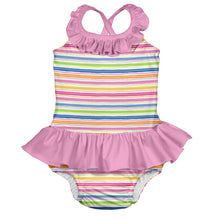 Load image into Gallery viewer, Mix & Match 1pc Ruffle Swimsuit w/Built-in Reusable Absorbent Swim Diaper-Pink Wavy Stripe