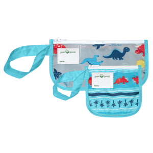 Reusable Snack Bags (2 pack)-Aqua Dinosaurs