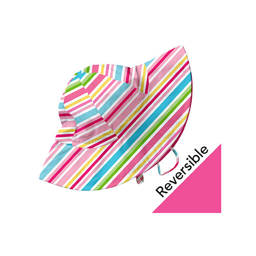 Mix and Match Reversible Brim Sun Protection Hat-Pink Multistripe