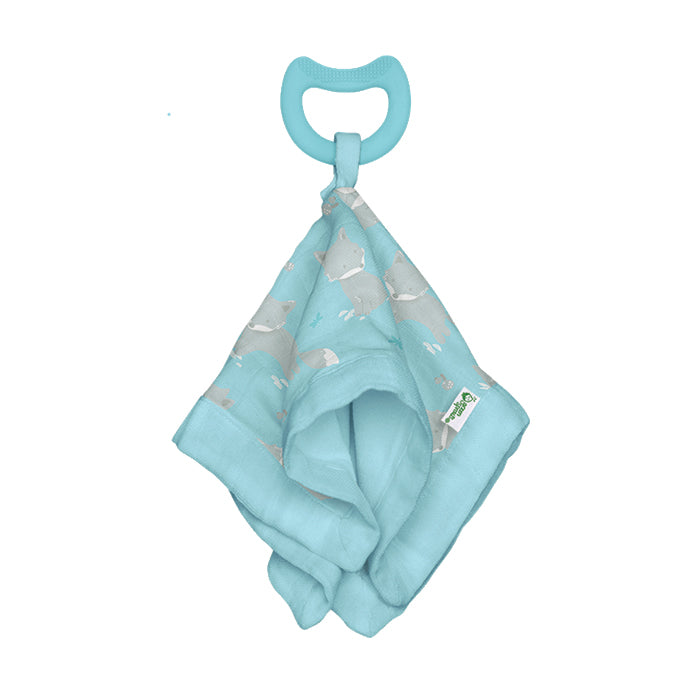 Snuggle Blankie Teether made from Organic Cotton-Aqua Fox-3mo+
