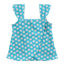 Load image into Gallery viewer, Classic Ruffle Swimsuit Top-Aqua Daisy