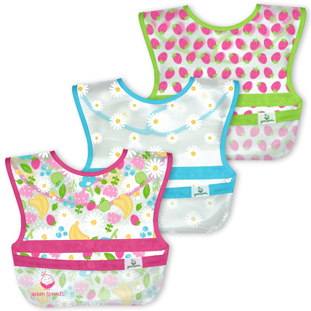 Snap & Go Wipe-off Bibs (3pk)-Pink Fruit Floral-9/18mo