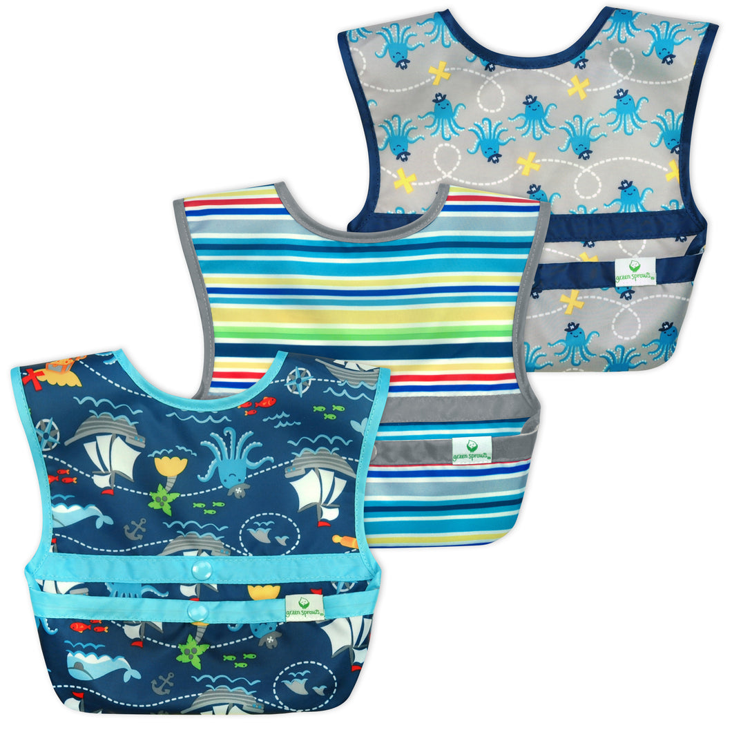 Snap & Go™  Easy-wear Bib (3 pack) 9-18 mo -  Aqua Pirate