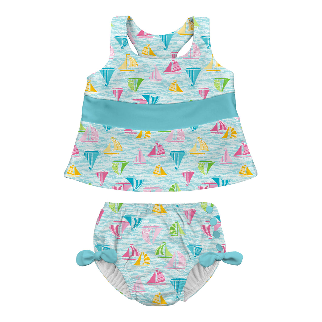 Bow Tankini Swimsuit Set with Snap Reusable Absorbent Swim Diaper-Light Aqua Sailboat Sea