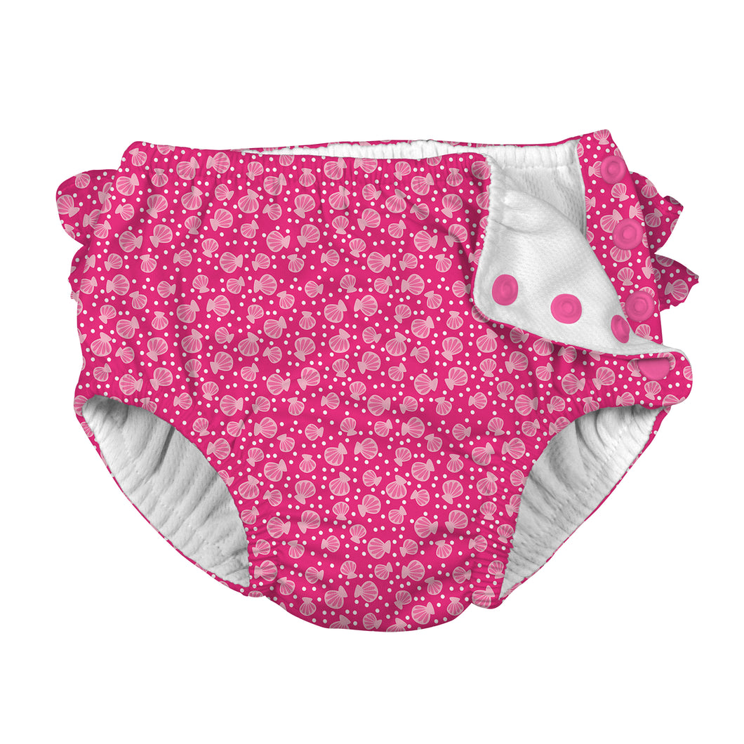 Mix & Match Ruffle Snap Reusable Absorbent Swimsuit Diaper-Fuchsia Cabana Geo