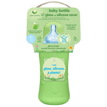 Load image into Gallery viewer, Baby Bottle made from Glass w Silicone Cover-8oz-Green-0mo+