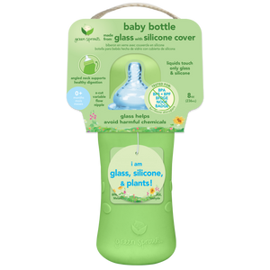 Baby Bottle made from Glass w Silicone Cover-8oz-Green-0mo+