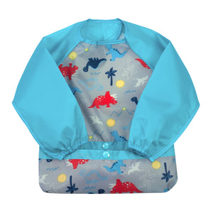 Snap & Go™ Easy-wear Long Sleeve Bib (single) 12/24 mo -  Aqua Dinosaurs