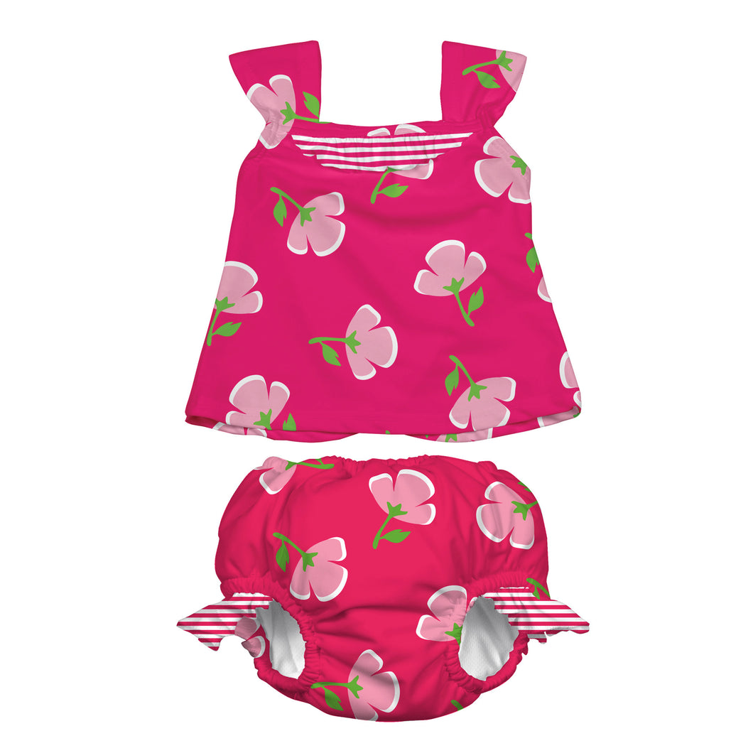 Mod Ultimate Swim Diaper 2pc Tankini Set - Fuchsia Buttercup