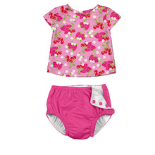 Load image into Gallery viewer, Classics Cap Sleeve Rashguard & Swim Nappy Set -Light Pink Berries