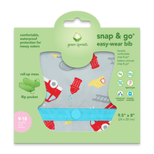 Load image into Gallery viewer, Snap & Go Easy-wear Bib-Gray Firetruck-9/18mo