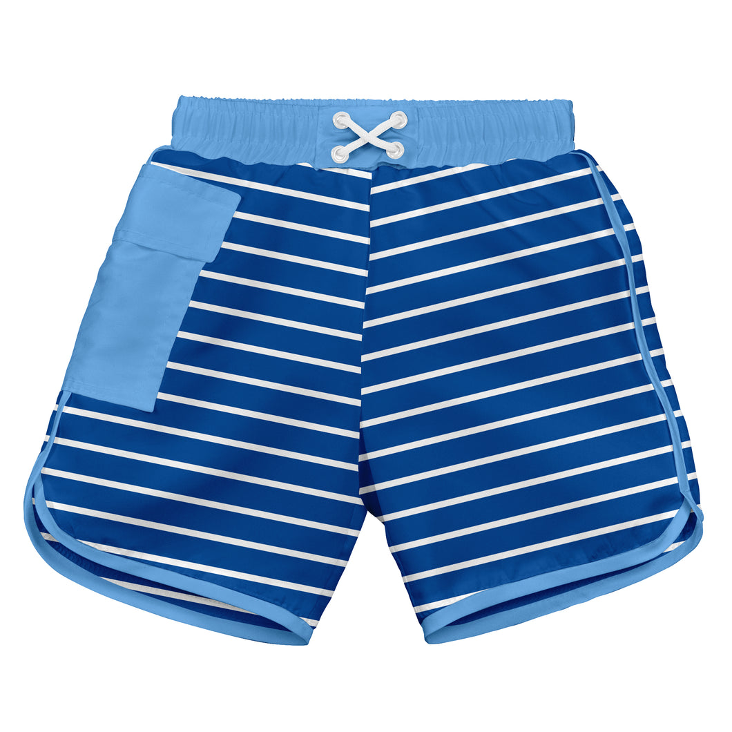 Classic Pocket Board Shorts w/Built-in Reusable Absorbent Swim Diaper-Royal Stripe
