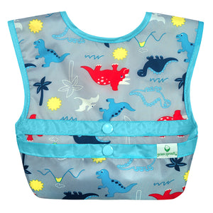 Snap & Go Easy-wear Bib-Gray Dinosaurs-9/18mo