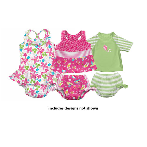 Assorted Print Girls' Swimsuit with Built-in Reusable Absorbent Swim Diaper (3pk)