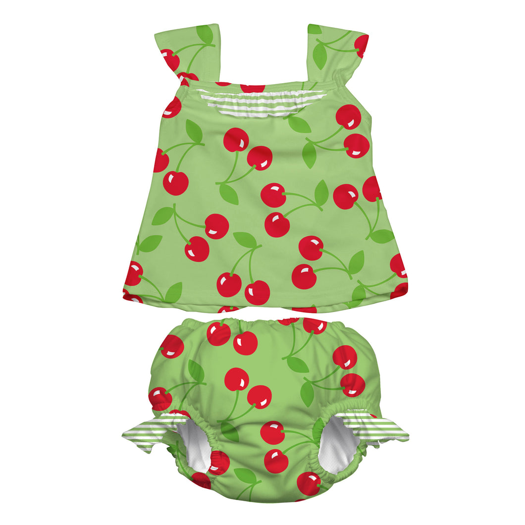 Mod Ultimate Swim Diaper 2pc Tankini Set - Lime Cherry