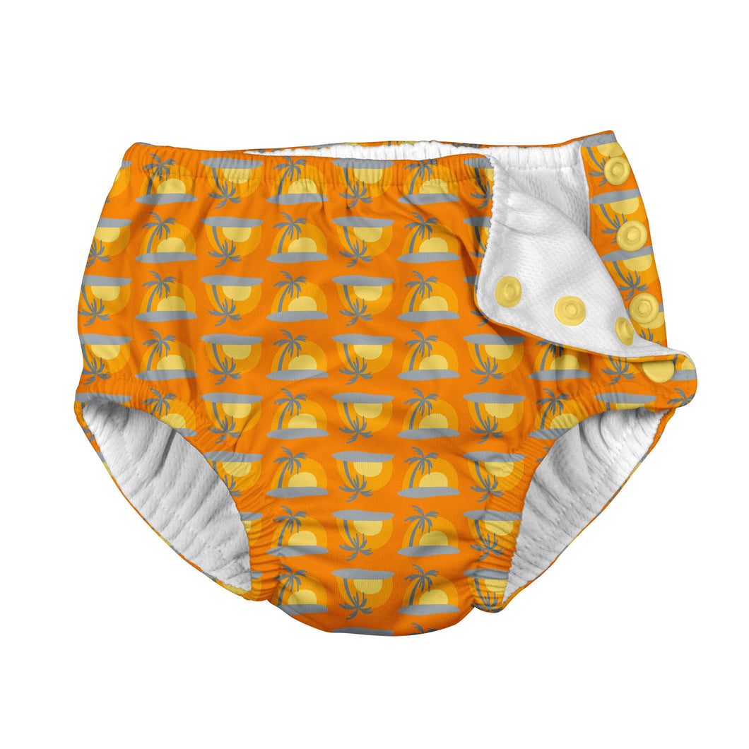 Mix & Match Snap Reusable Absorbent Swimsuit Diaper-Orange Sunset Geo