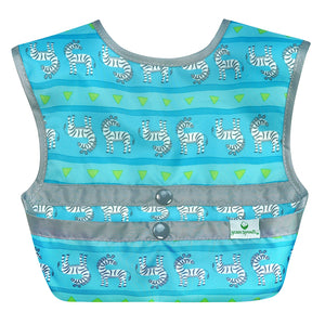 Snap & Go Easy-wear Bib-Aqua Zebra Stripe-9/18mo