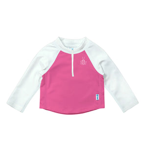 Long Sleeve Zip Rashguard Shirt-White & Hot Pink Colourblock