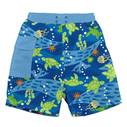 Pocket Trunks with Built-in Reusable Absorbent Swim Diaper-Royal Blue Turtle Journey